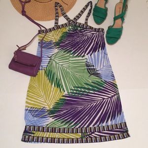 BCBG Maxazria / Tropical Palm Print Dress